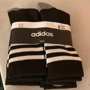 Adidas Mens 3 Stripes Crew Socks 6 pk